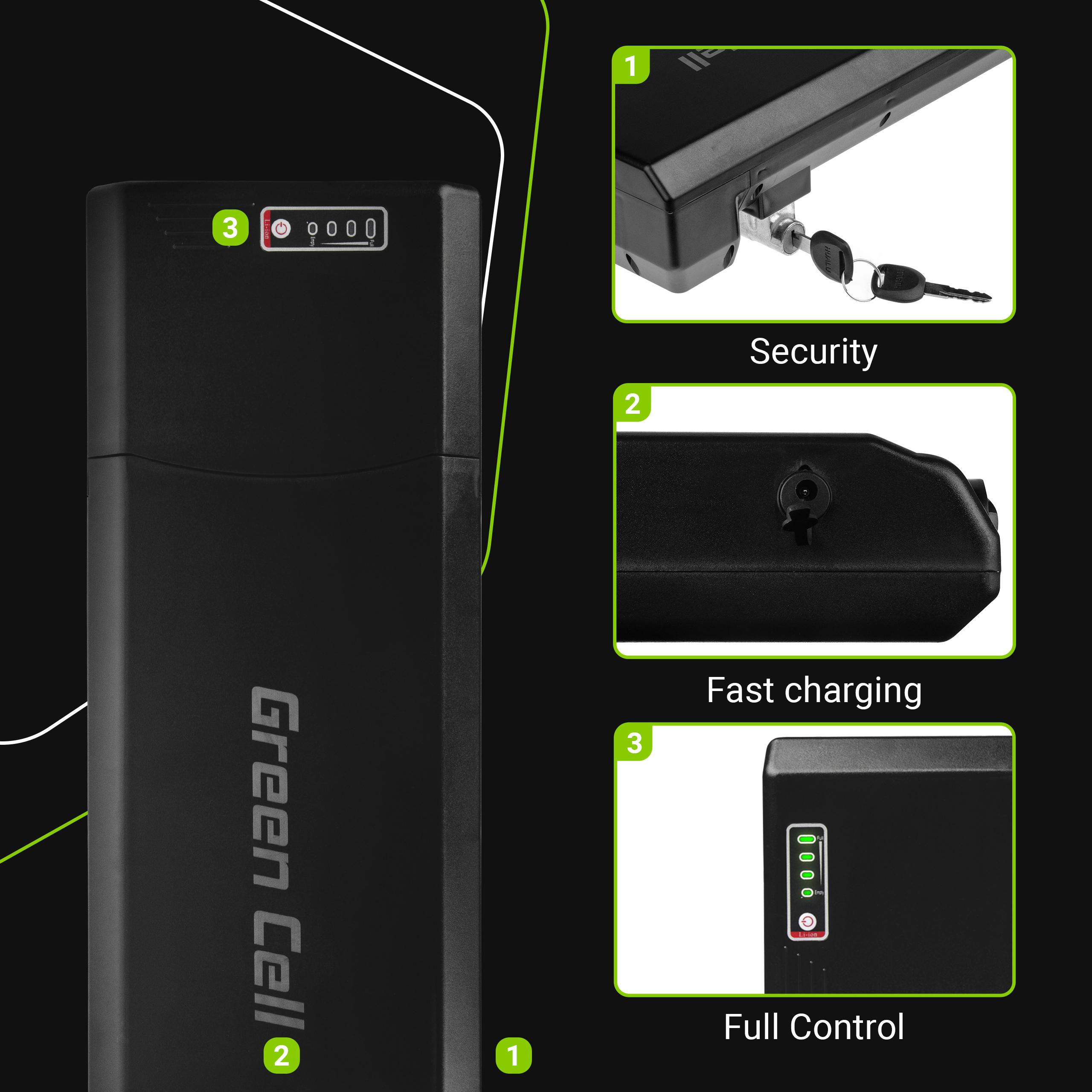 Green Cell Baterie 24V 13Ah 312Wh Rear Rack pro E-Bike Pedelec