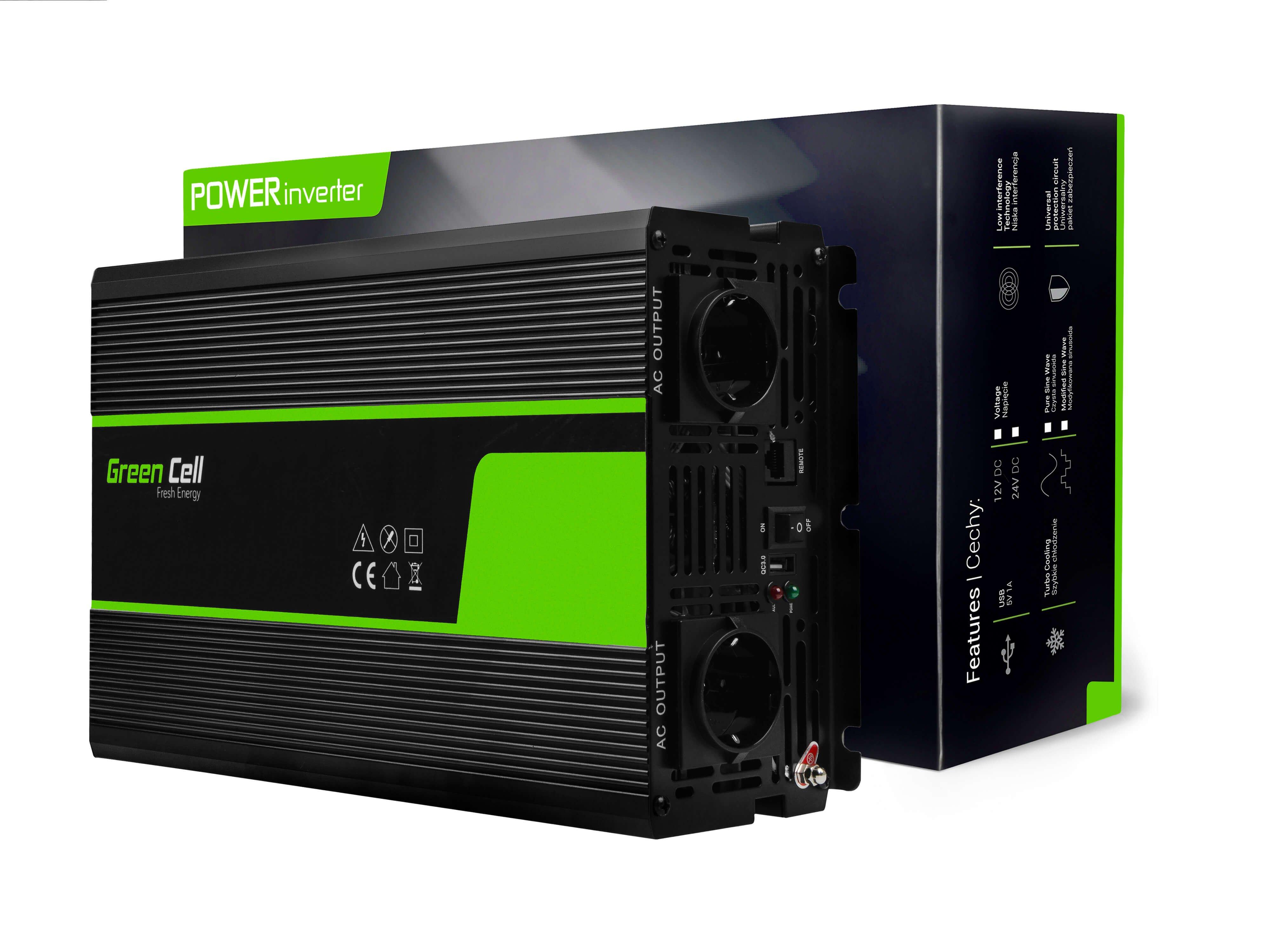 Green Cell Měnič napětí z 12V na 230V, 1500W | 3000W - čistá sinusovka