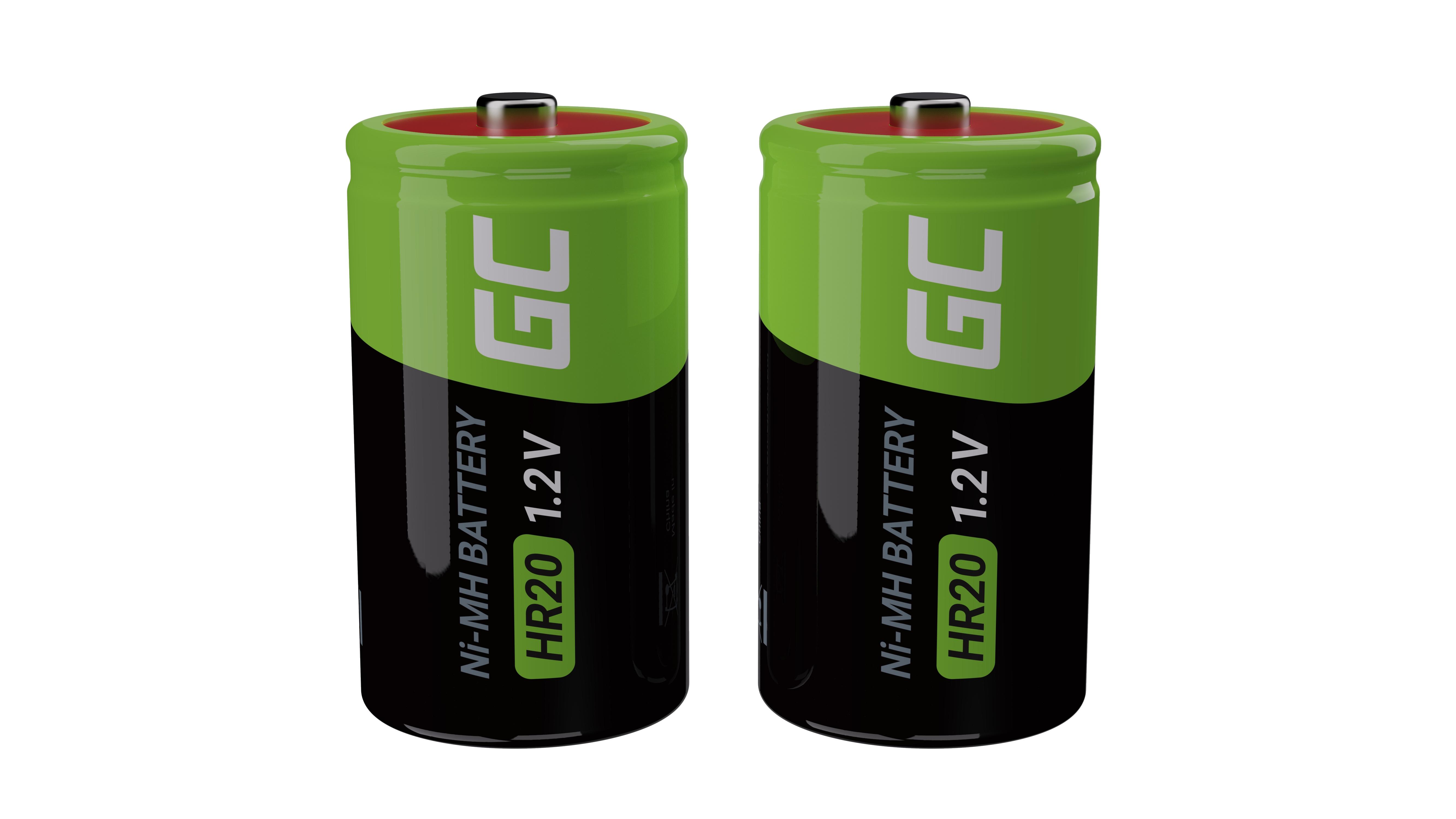 Green Cell Dobíjecí baterie 2x D R20 HR20 Ni-MH 1.2V 8000mAh