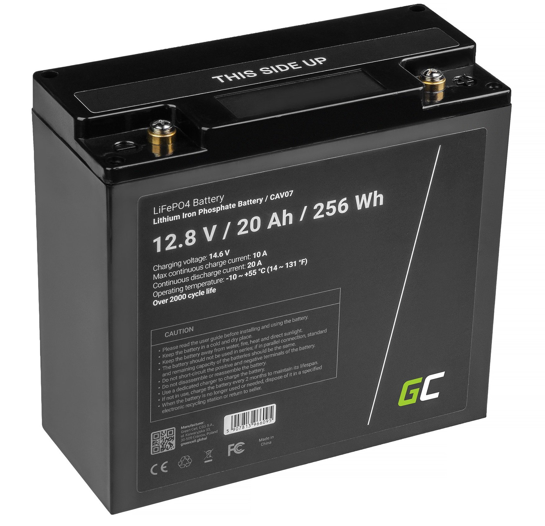 Green Cell LiFePO4 Baterie 20Ah 12.8V 256Wh