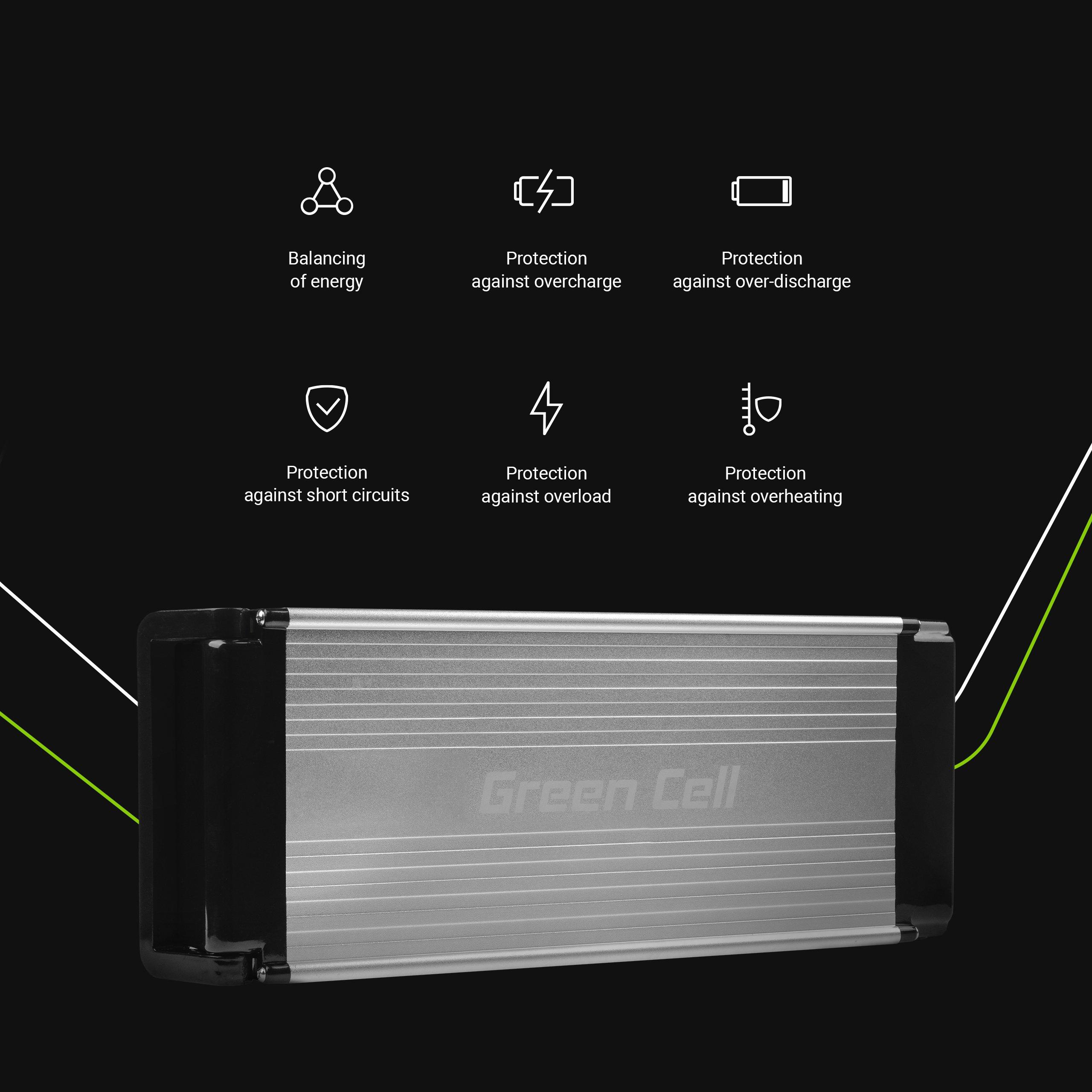 Green Cell Baterie 36V 15Ah 522Wh Rear Rack pro E-Bike Pedelec
