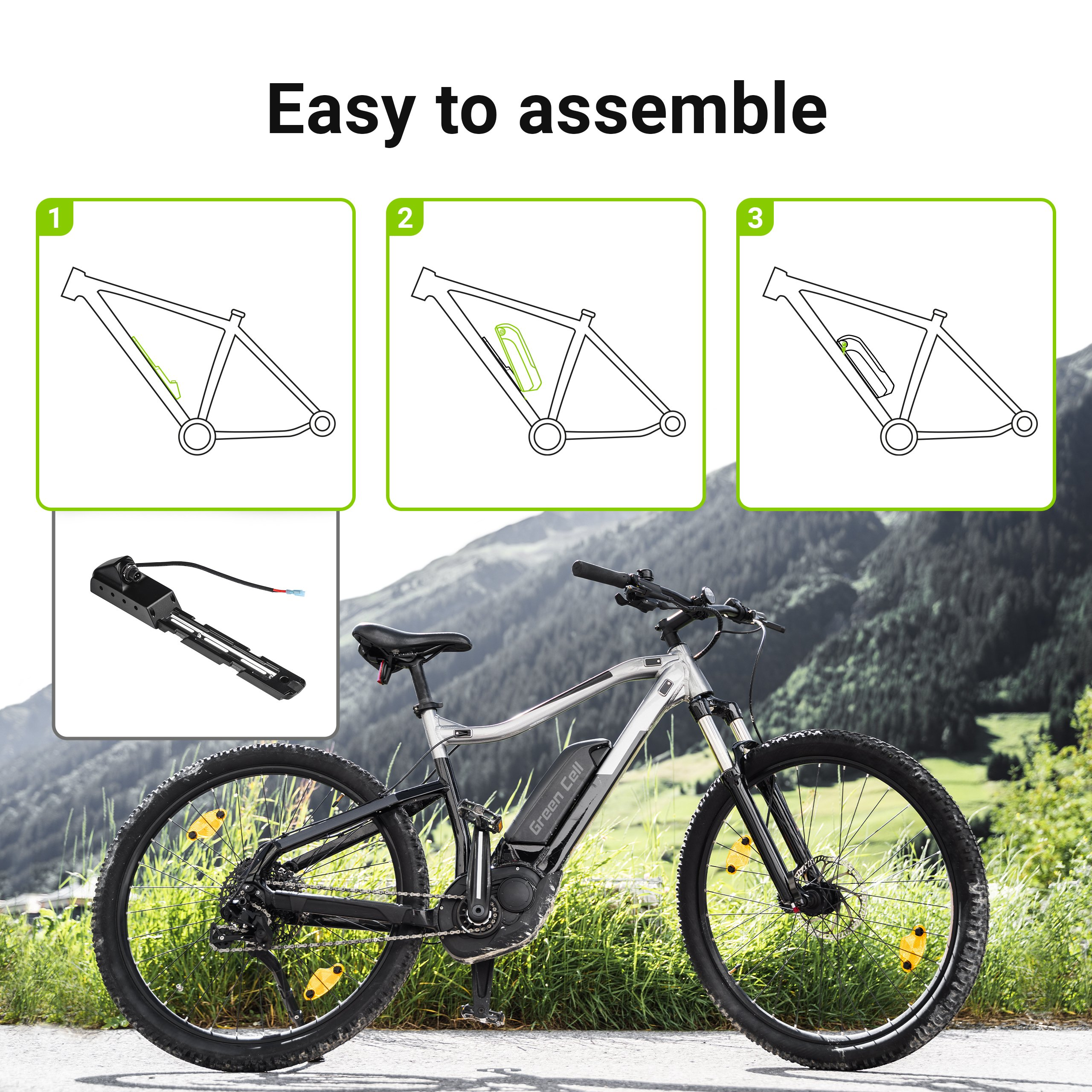 Green Cell E-Bike Baterie 36V 13Ah Electric Bicycle Li-Ion Down Tube with Charger