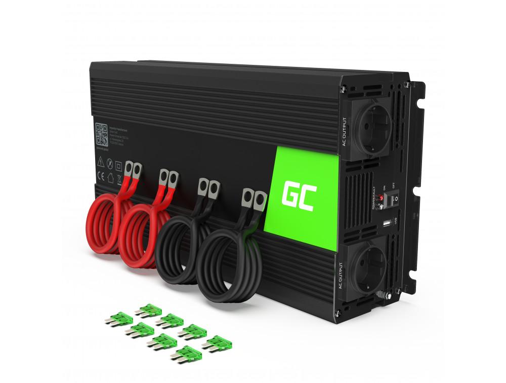 Green Cell autós inverter tiszta szinuszos 12V 230V, 3000W / 6000W