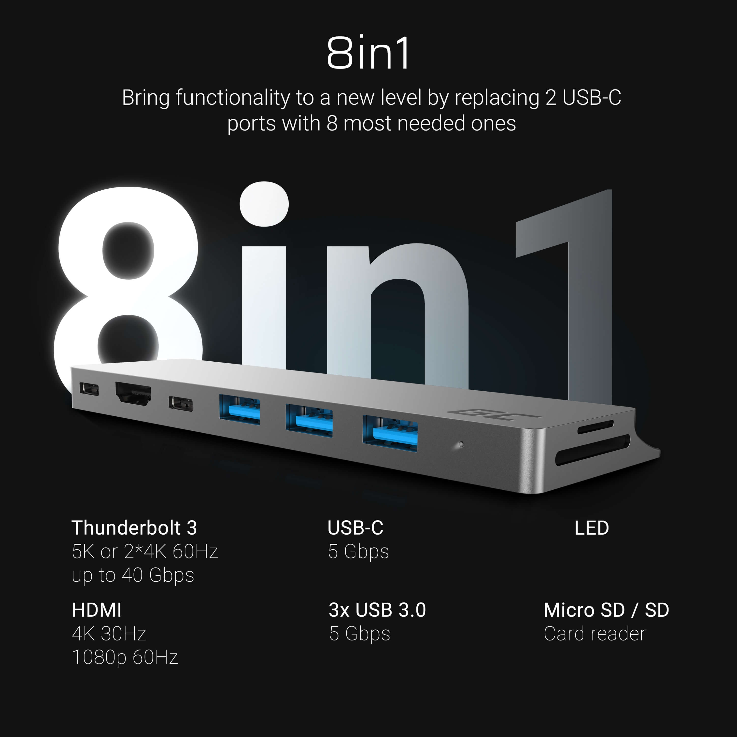 Adapter Green Cell HUB Connect60 8in1 (Thunderbolt 3, USB-C, HDMI, 3x USB 3.0) pro Apple MacBook Air 2018, Pro 2016 - 2020