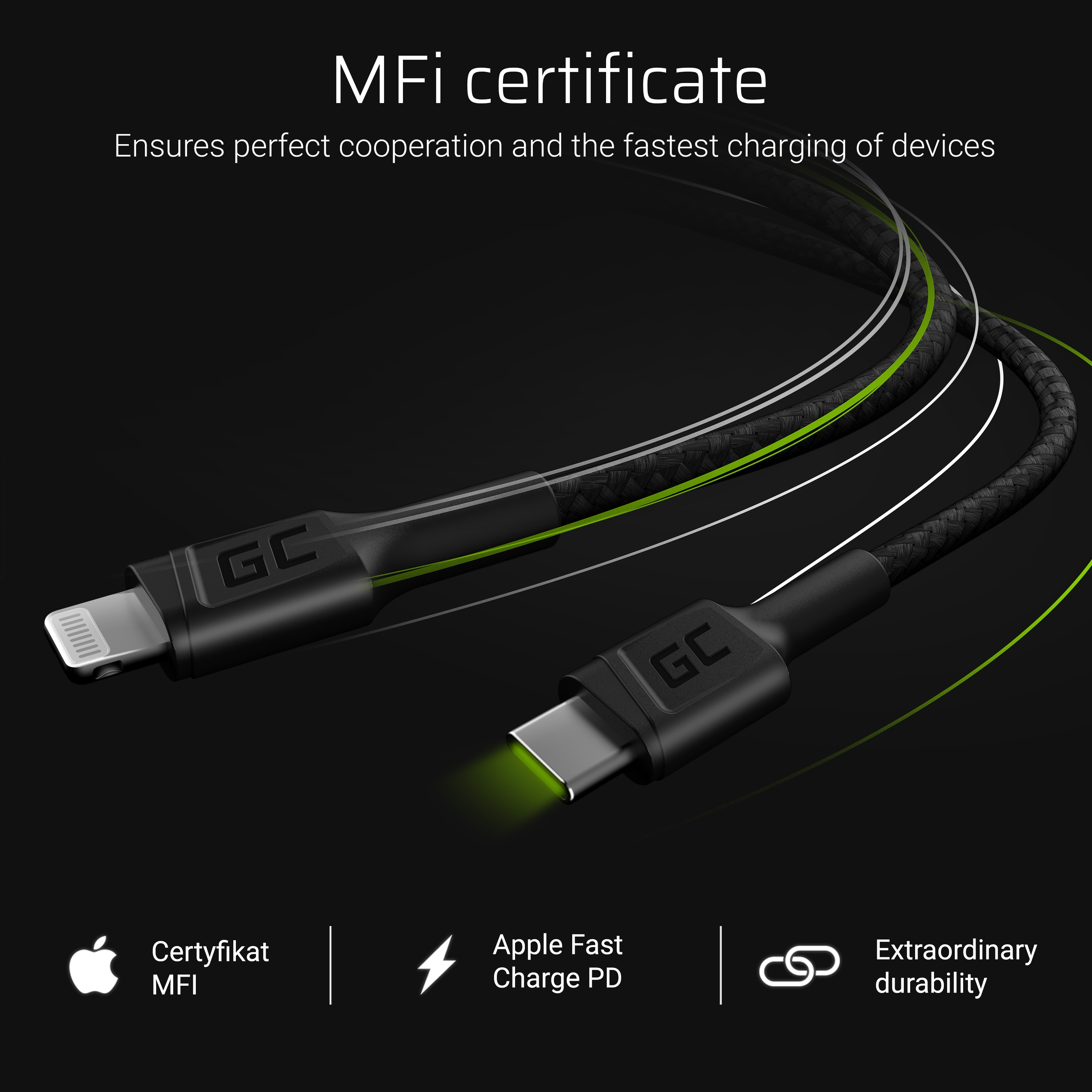 Cable GC Power Stream USB-C - Lightning 100 cm with Power Delivery (Apple MFi Certified)