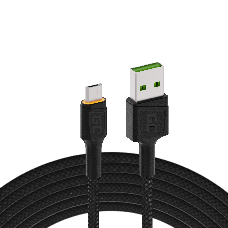 Green Cell kabel GC Ray USB - Micro USB 120cm, oranžové podsvícení LED, rychlé nabíjení Ultra Charge, QC3.0
