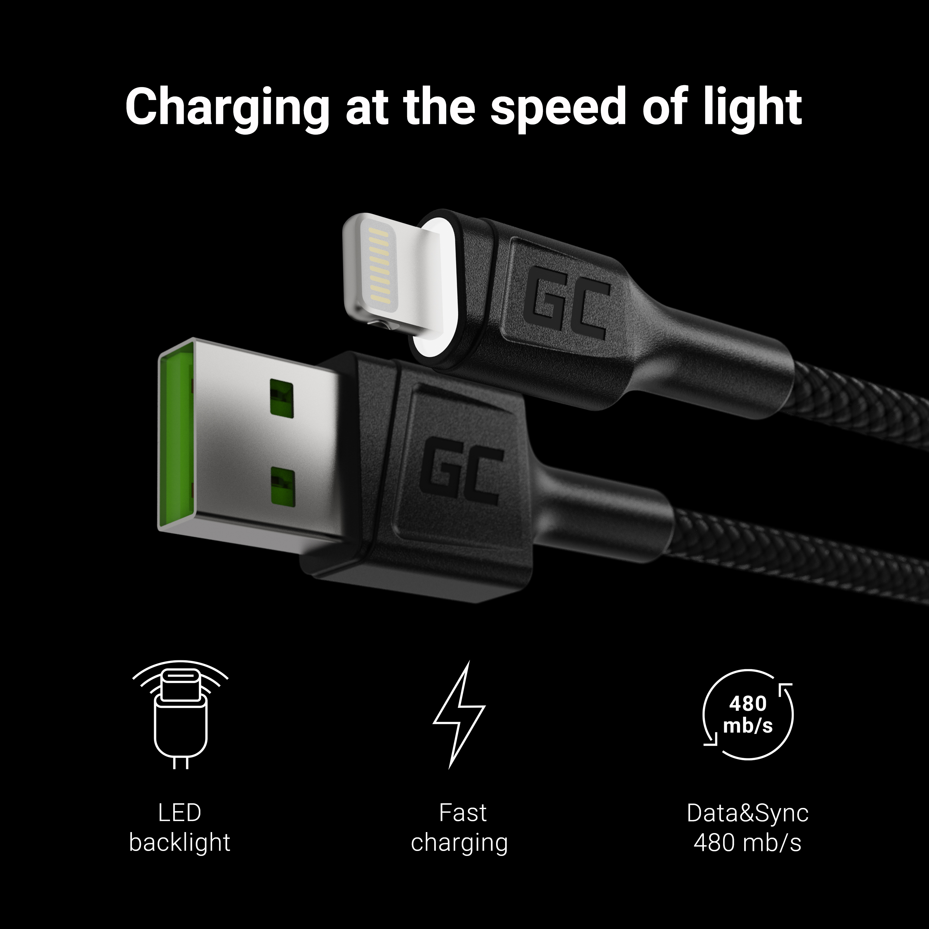 Cable Green Cell Ray USB-A - Lightning White LED 120cm with support for Apple 2.4A  fast charging
