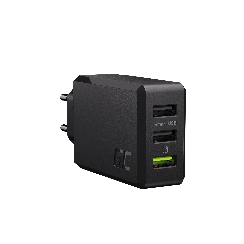 Green Cell cestovní nabíječka s rychlým nabíjením Ultra Charge a Smart Charge 3xUSB 30W
