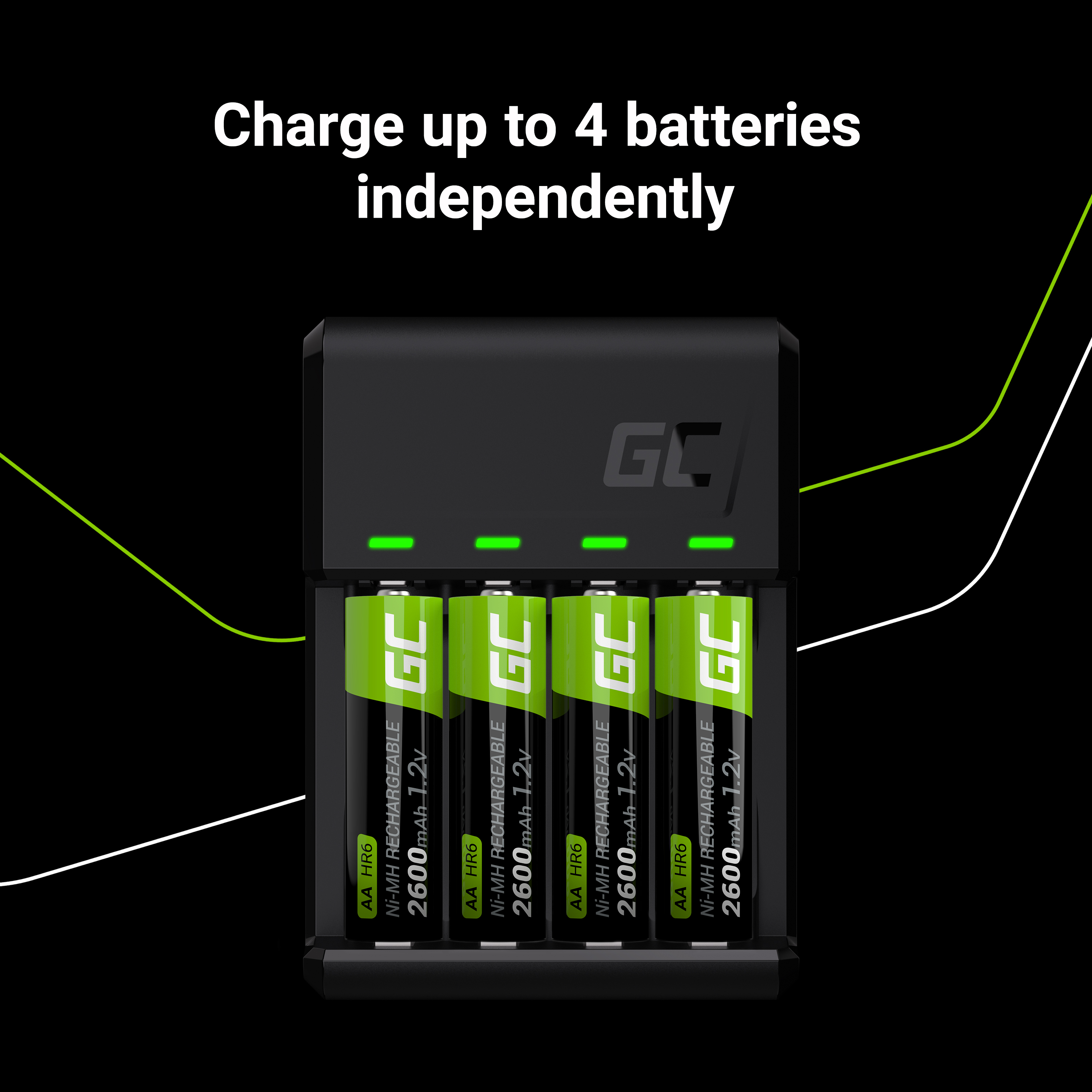 Green Cell GC VitalCharger Ni-MH AA and AAA battery charger with Micro USB and USB-C port