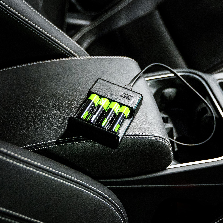 Green Cell VitalCharger Nabíječka Set AA a AAA baterií s Micro USB a USB-C portem + baterie 4xAAA / HR03 800mAh
