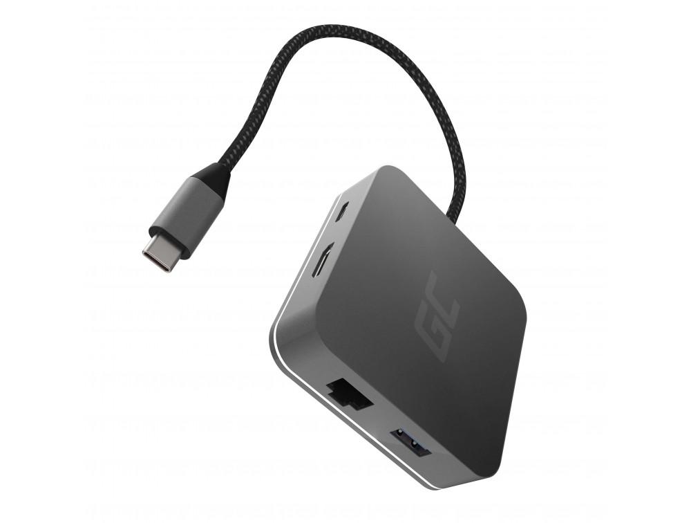 Green Cell USB HUB 6in1 (USB 3.0 HDMI Ethernet USB-C)