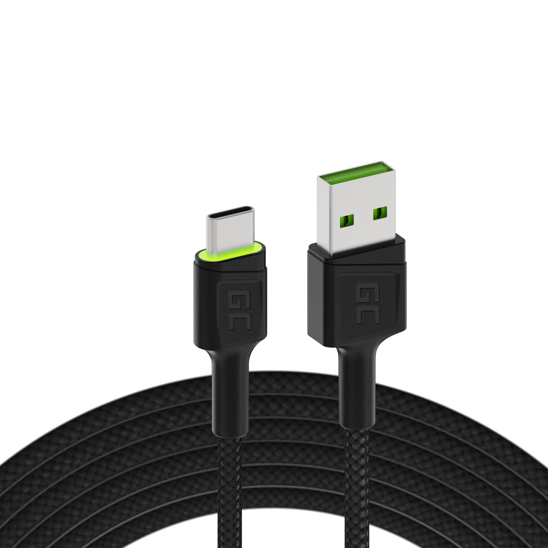 Green Cell kabel USB - USB-C 120cm, zelené podsvícení LED, rychlé dobíjení Ultra Charge, QC 3.0