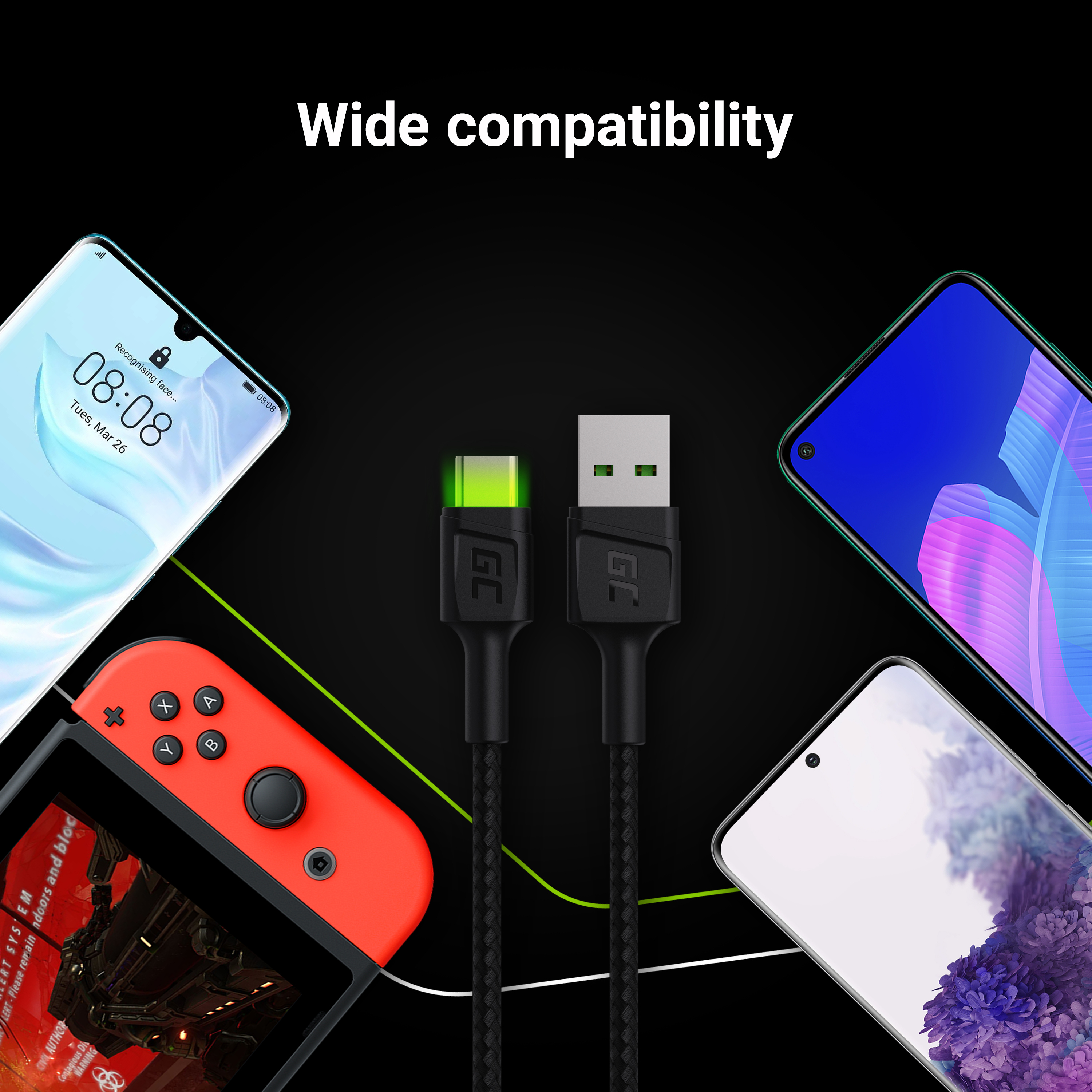Cable Green Cell Ray USB Cable - USB-C 120cm with green LED backlight and support fast charging Ultra Charge, QC 3.0