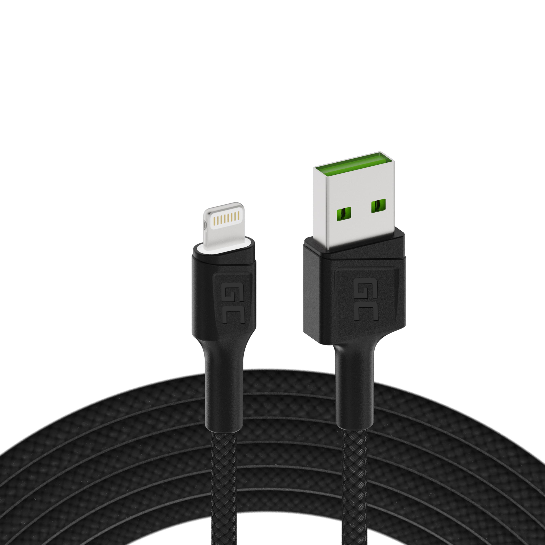 Green Cell kabel GC Ray USB - Lightning 200cm pro iPhone, iPad, iPod, bílé podsvícení LED, rychlé nabíjení