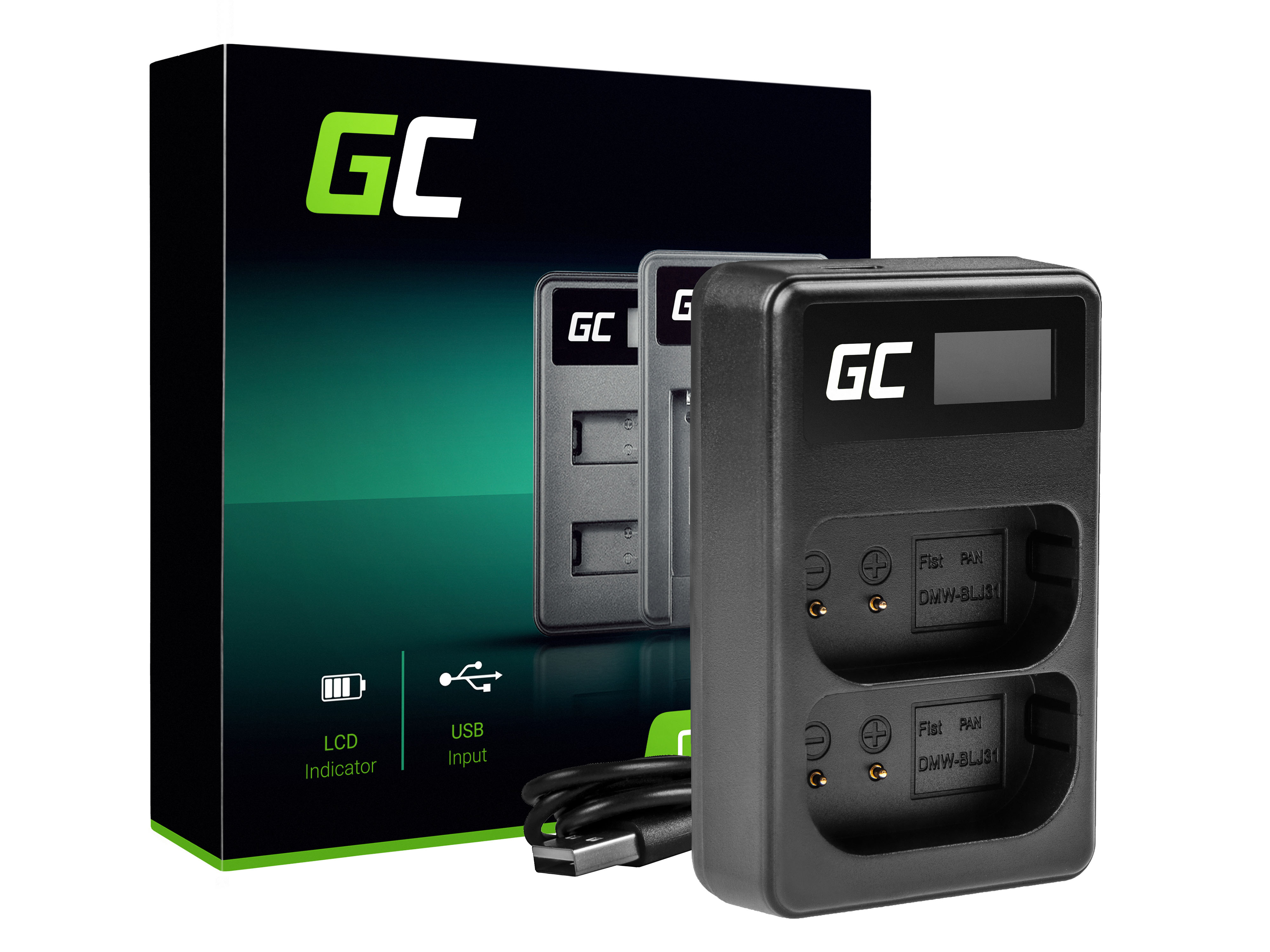 Green Cell Duální nabíječka Panasonic DMW-BTC14 pro DMW-BLJ31 Panasonic Lumix S1, S1H, S1K, S1R, S1RM1R, S1RM