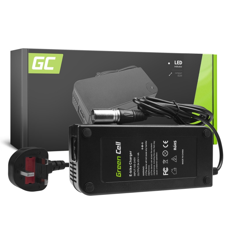 Green Cell® 54.6V 4A Ebike Charger for 48V Li-Ion Battery Cannon Plug UK